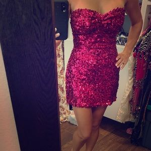 """Hot Pink Sequins Dress By """"Hot Sauce Style"""" S/M"""
